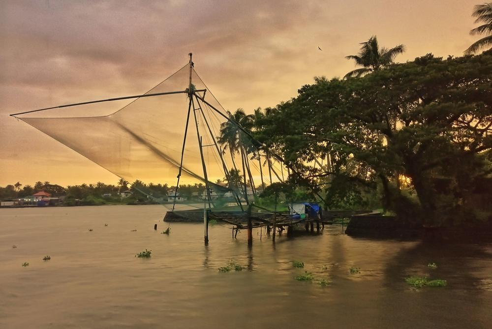 Fishing nets at sunset at Cochin
