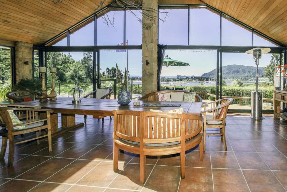 Colleith Lodge view form interior, New Zealand
