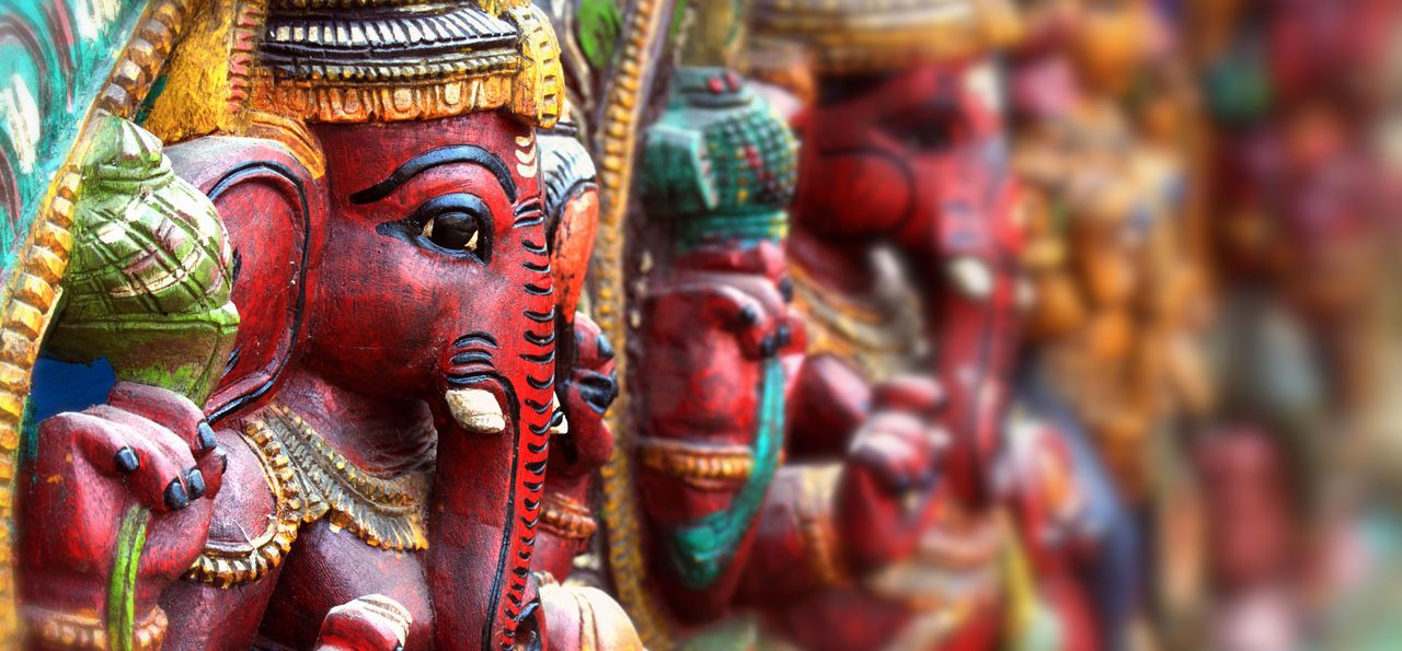 Colourful statues of Ganesh lined up