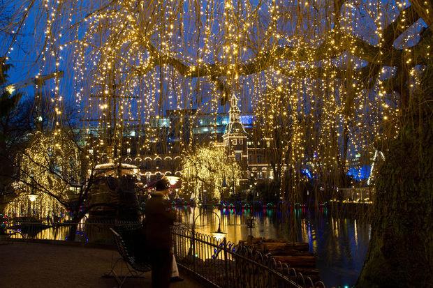 Christmas lights in Tivoli Garden Copenhagen