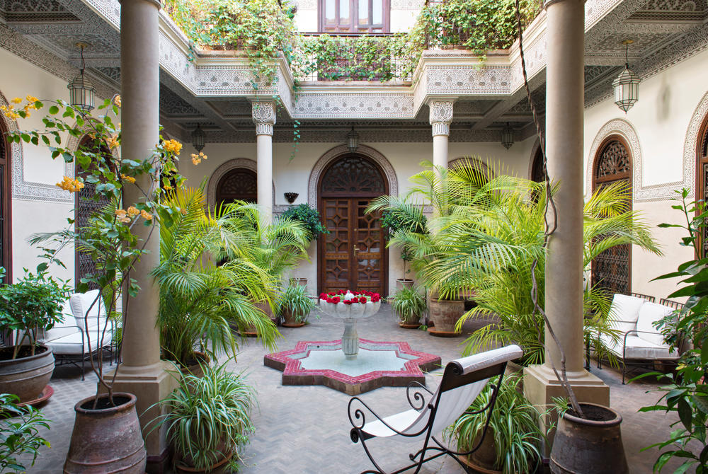 Courtyard and plants at Villa des Orangers, Marrakech