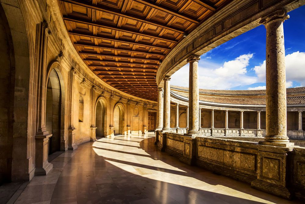 Courtyard of the Palacio de Carlos V in La Alhambra, Granada, Spain