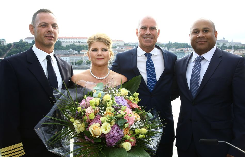 Captain Ferenc, Captain of Crystal Ravel, Mariann Peller, Godmother, Tom Wolber, President & CEO, Crystal Cruises, Walter Littlejohn, Vice President and Managing Director, Crystal River Cruises