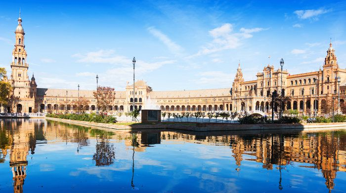 Day view of Plaza de Espana at Seville. Andalusia, Spain
