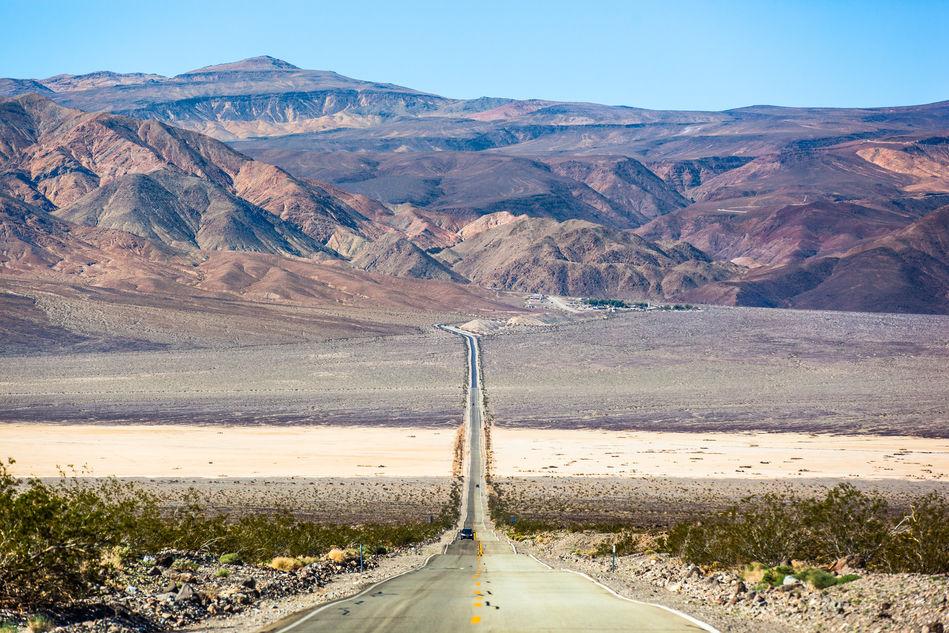 Car driving through Death Valley