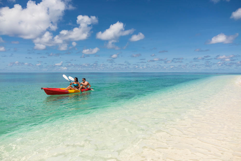 Sea kayaking at Denis Private Island, Seychelles