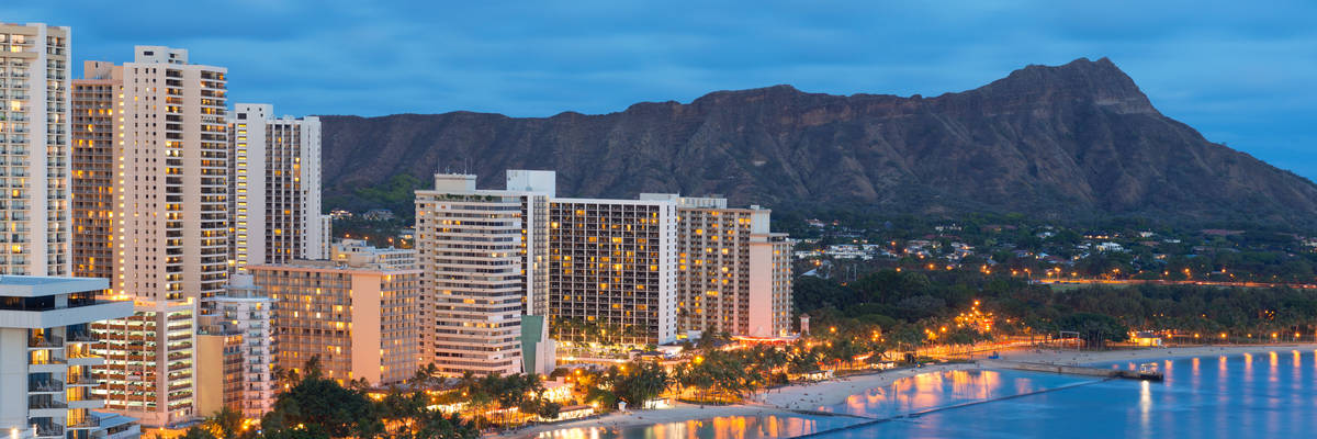 Diamond Head and Waikiki Beach, Honolulu city, Hawaii