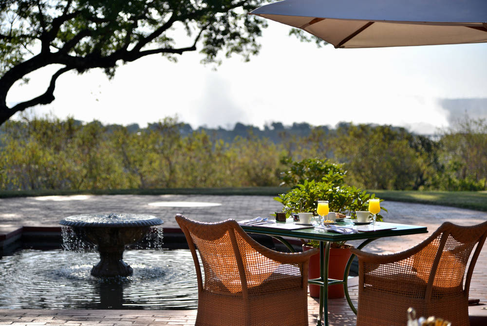 Outdoor dining at Jungle Junction Restaurant, Victoria Falls Hotel