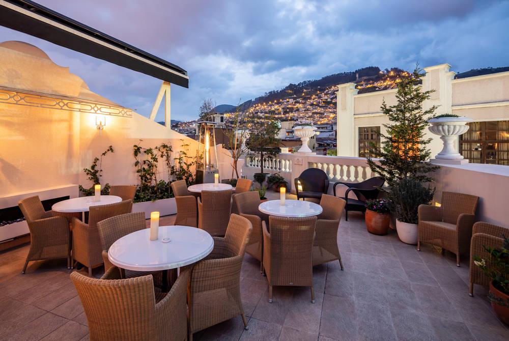 Dining terrace, Casa Gangotena, Quito, Ecuador