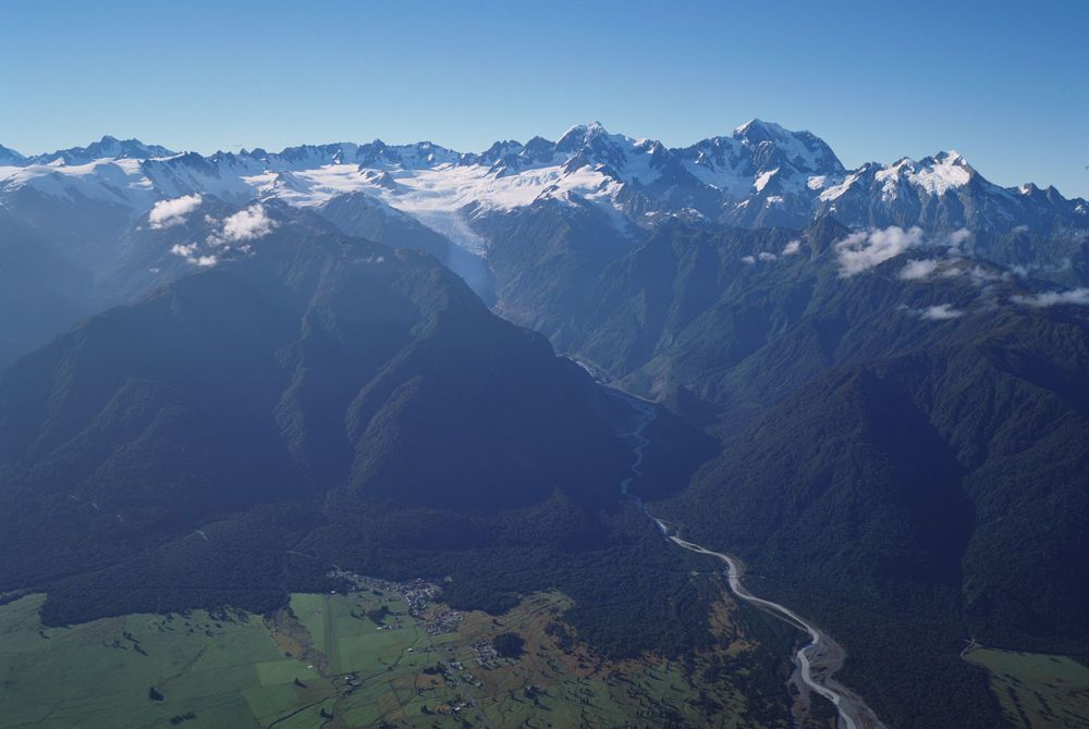 Distinction Fox Glacier village aerial view, New Zealand