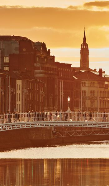 Dublin's Ha'penny Bridge at sunset