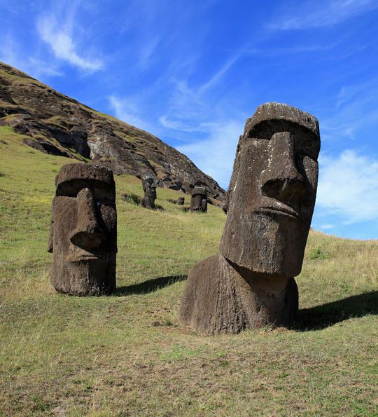 Moai statues on Easter Island known as Rapa Nui in Chile
