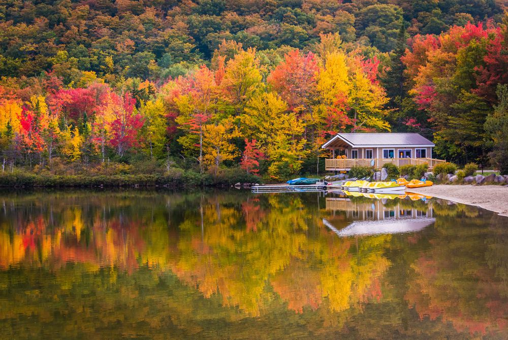 Echo Lake in Franconia Notch State Park, New Hampshire