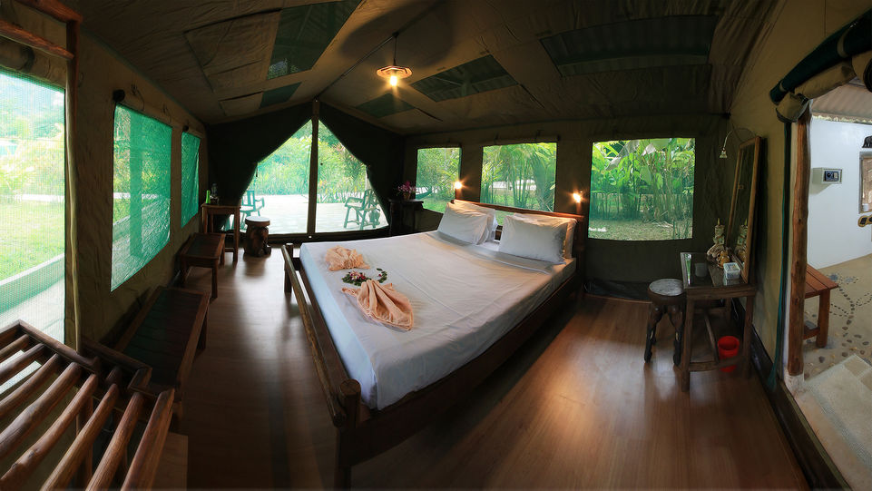 Sleep in spacious tented accommodation