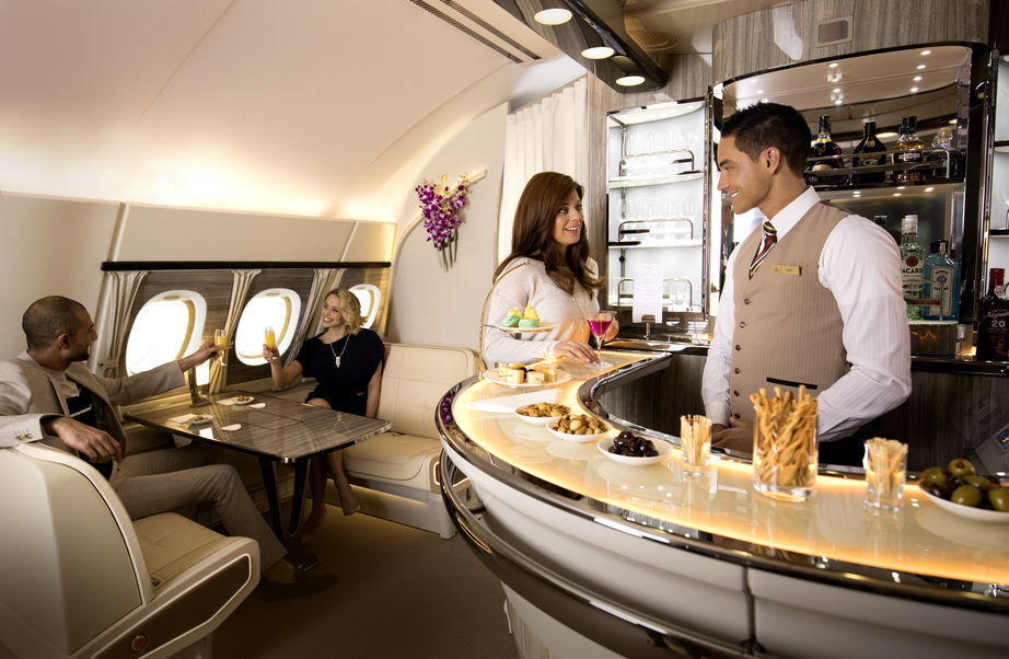 Emirates A380 on-board lounge in Business Class