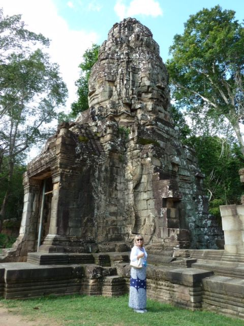 Emma Sanger-Horwell by Bayon Temple, Cambodia