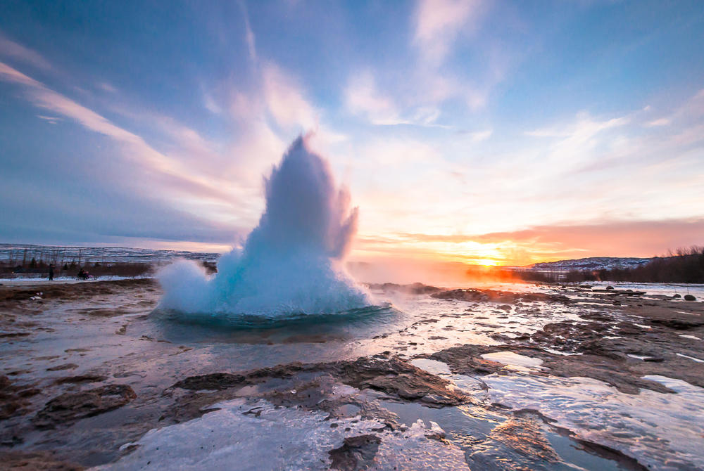 Strokkur geyser erupting in Iceland's Golden Circle