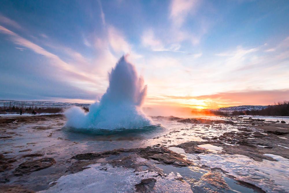 Eruption at Strokkur Geyser in Iceland