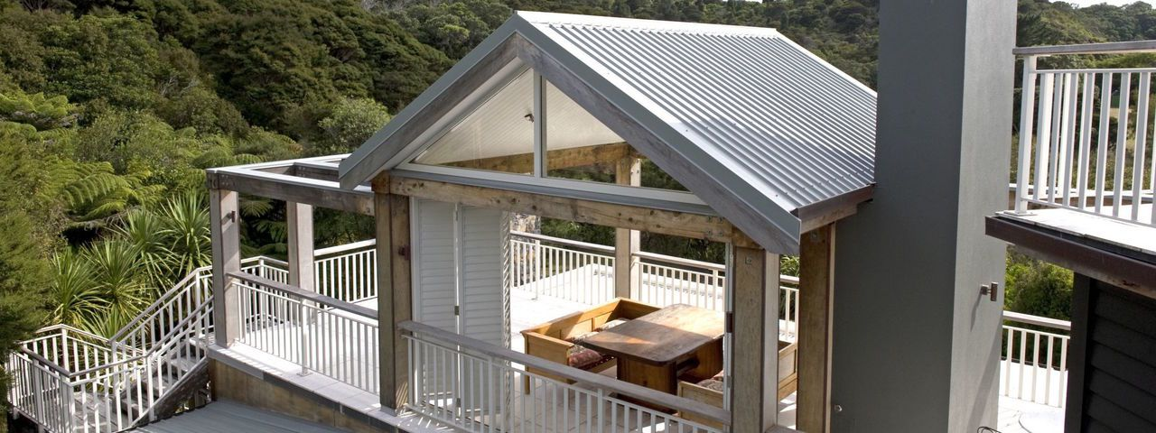 Estuary Suite balcony, 970 Lonely Bay, New Zealand