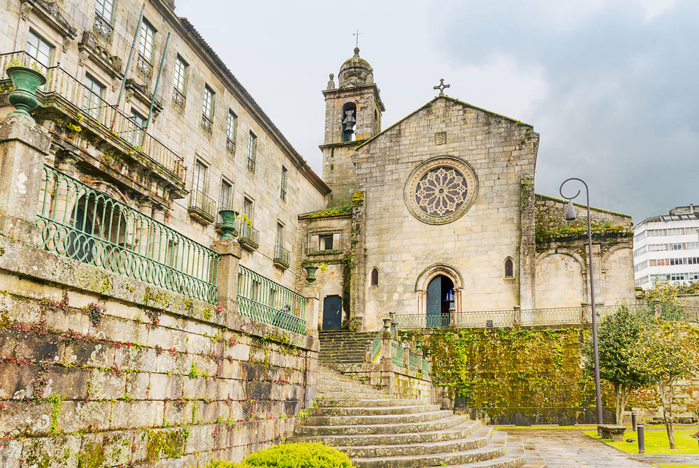 Facade and stairs of San Francisco church in Pontevedra