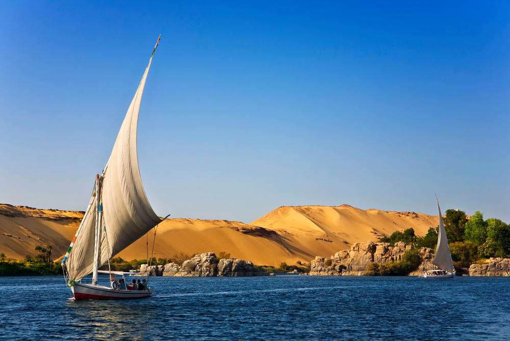 Feluccas – traditional sailing boats on the Nile in Egypt