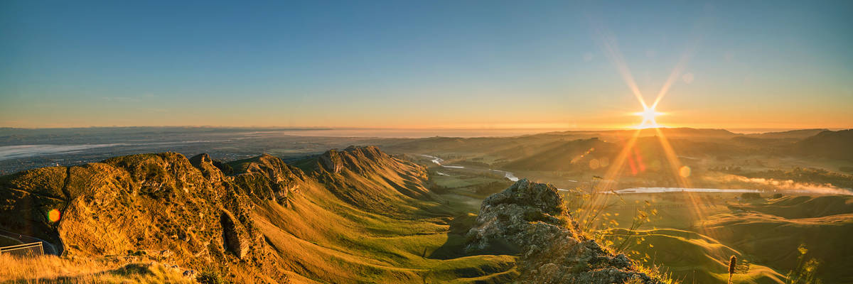 First colors of a day from the Te Mata Peak, Napier, New Zealand