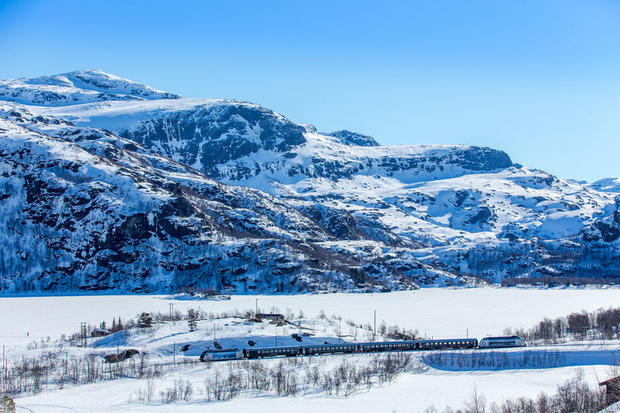 The Flåm Railway in winter