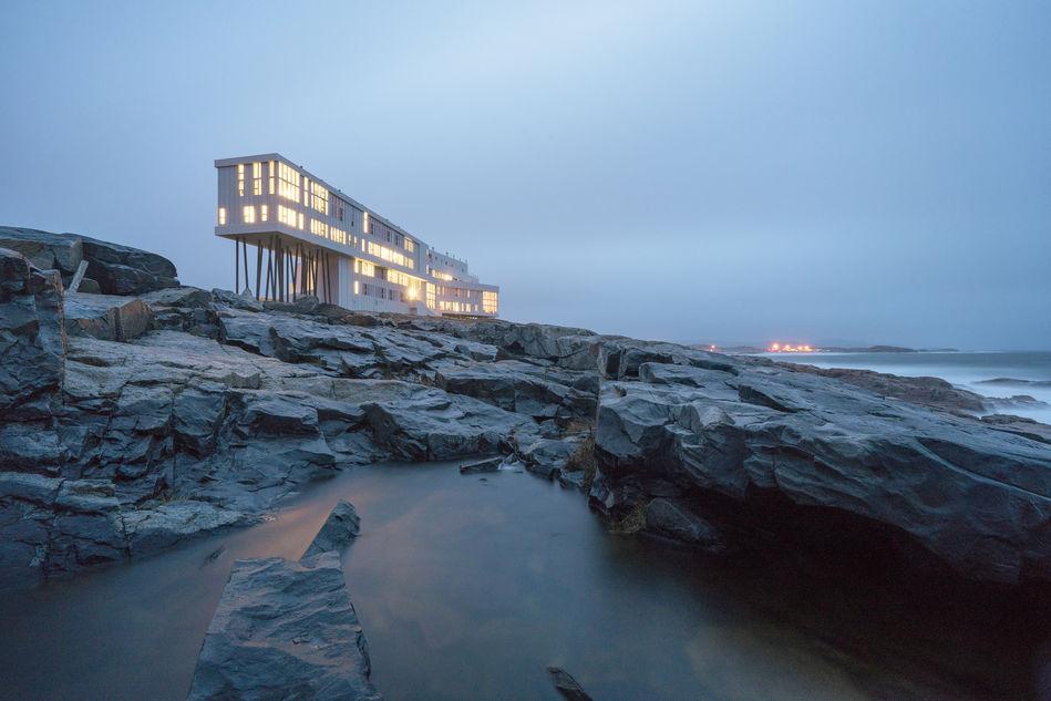 Fogo Island Inn at dusk