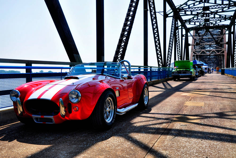 Ford Cobra on the Chain of Rocks Bridge, Route 66