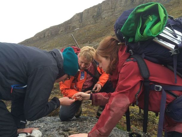 Group inspects a fossil on Svalbard