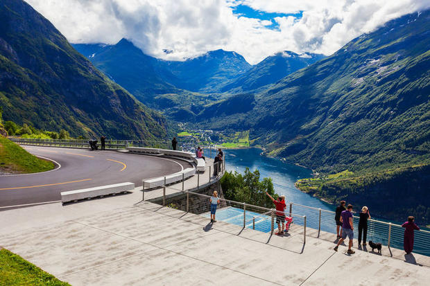 A scenic lookout on Eagle Road, Geirangerfjord, Norway