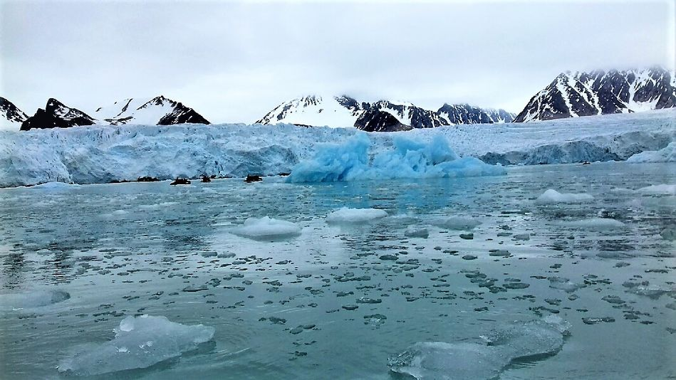 Glacier and Zodiacs on Silver Cloud Expeditions