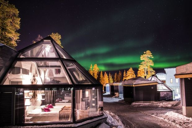 Finland Glass Igloo holiday and Santa's Hotel Aurora in Lapland