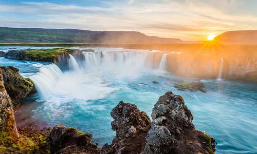 Godafoss waterfall at sunset, Iceland