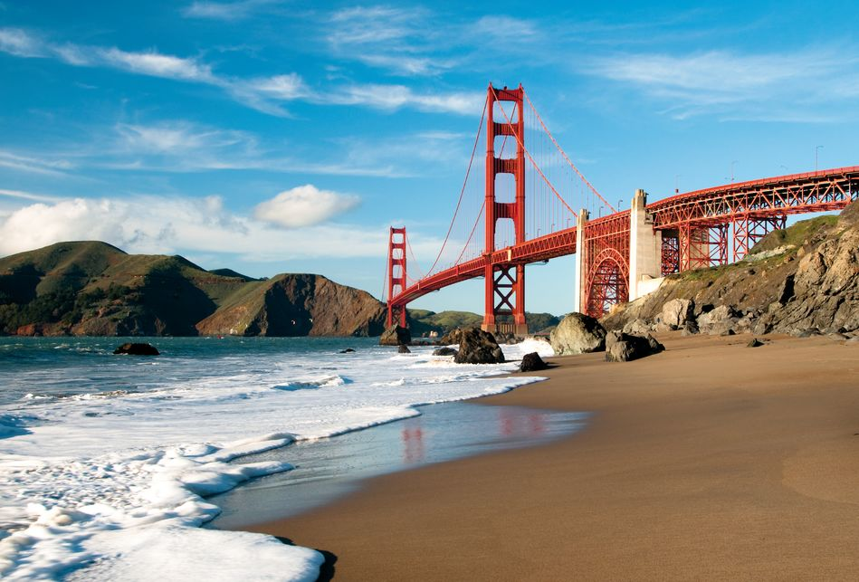 View from the shore of San Fran's Golden Gate Bridge