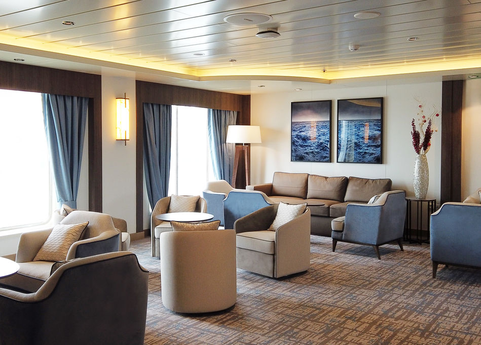 Lounge area on Greg Mortimer, Aurora Expeditions