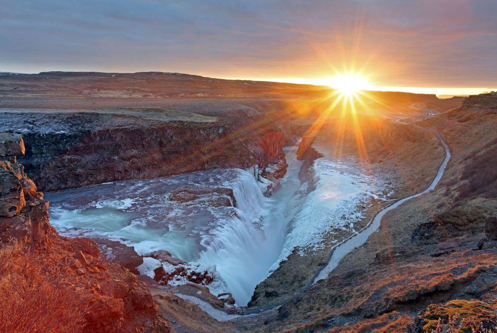 Gullfoss waterfall at sunset, Iceland