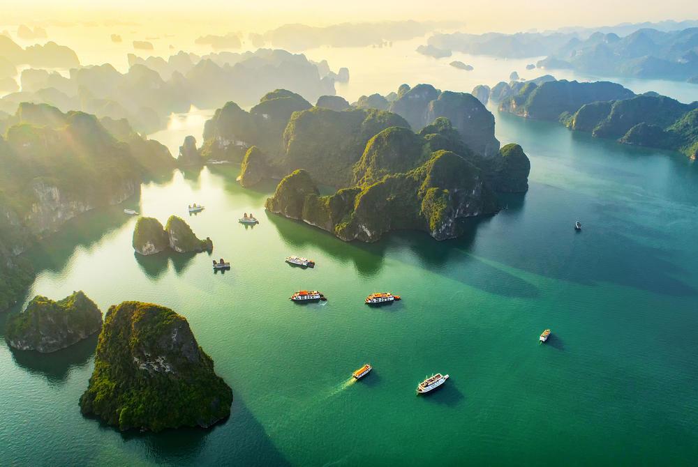 Aerial view of boats at Halong Bay