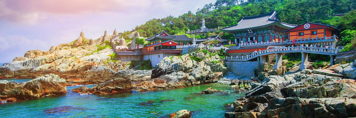 Haedong Yonggungsa Temple and Haeundae Sea in Busan, South Korea