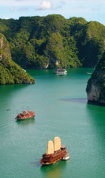 Junk ships floating in Halong Bay in Vietnam