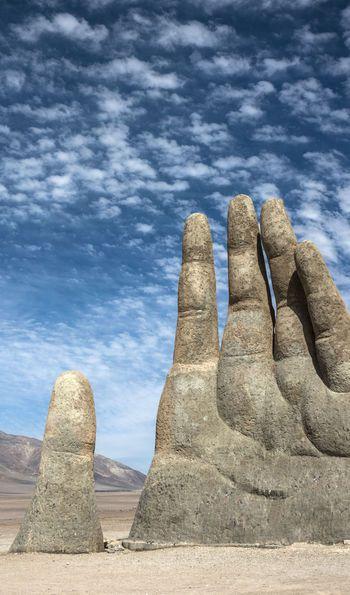 Hand sculpture in the Atacama Desert