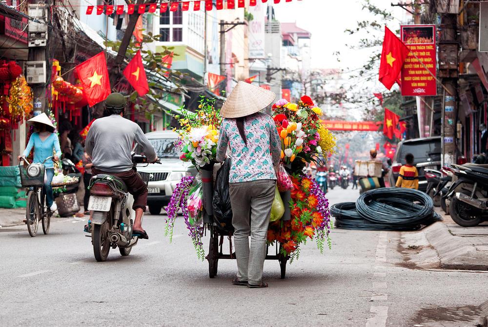 Busy streets of Hanoi in Vietnam