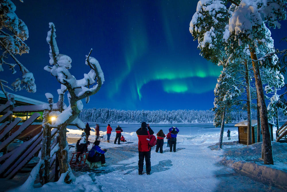 Northern Lights display over Harriniva, Finnish Lapland