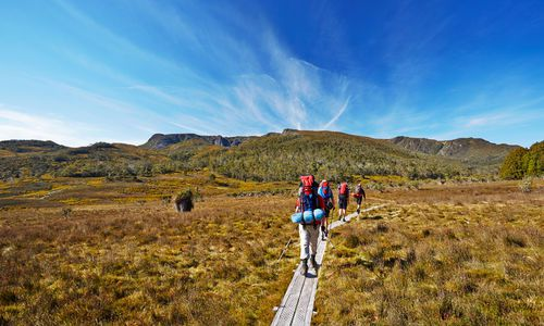 Hikers on Overland Trail in Tasmania, Australia