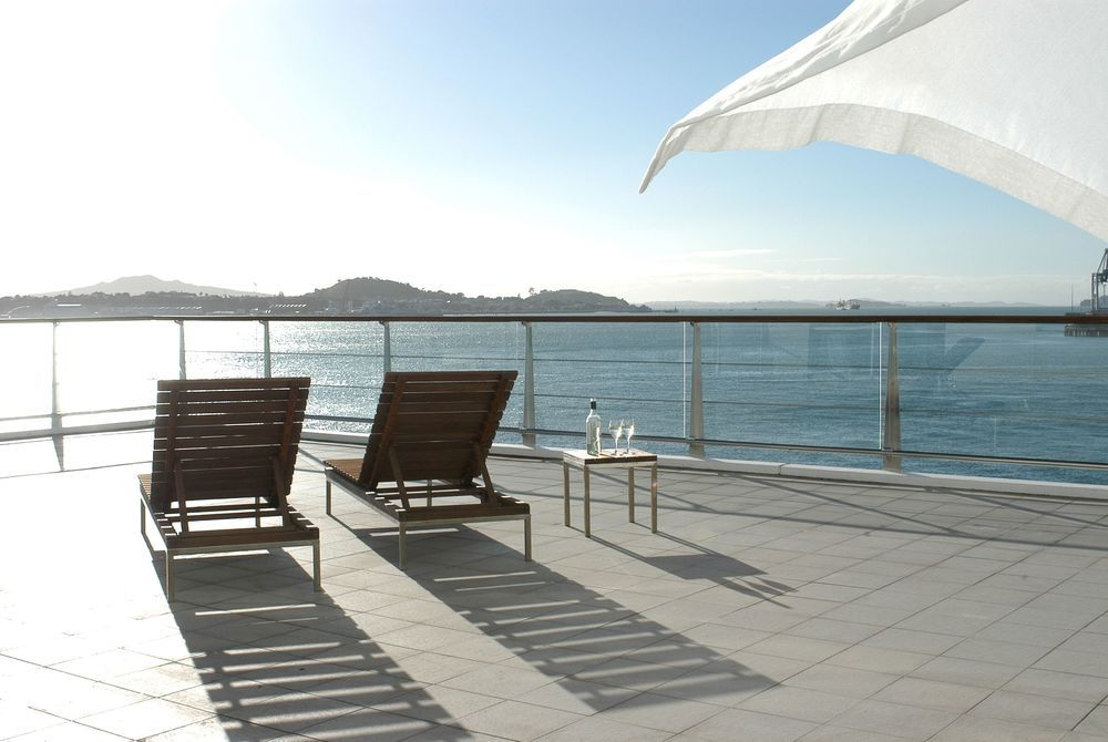 Hilton Auckland lounge chairs on a balcony, New Zealand