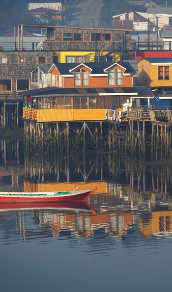 Houses on stilts (palafitos) in Castro, Chiloe Island, Patagonia, Chile
