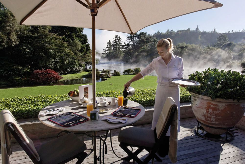 Huka Lodge breakfast on the main terrace, New Zealand