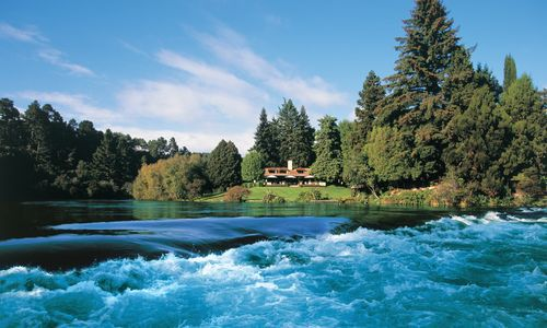 Huka Lodge exterior, New Zealand