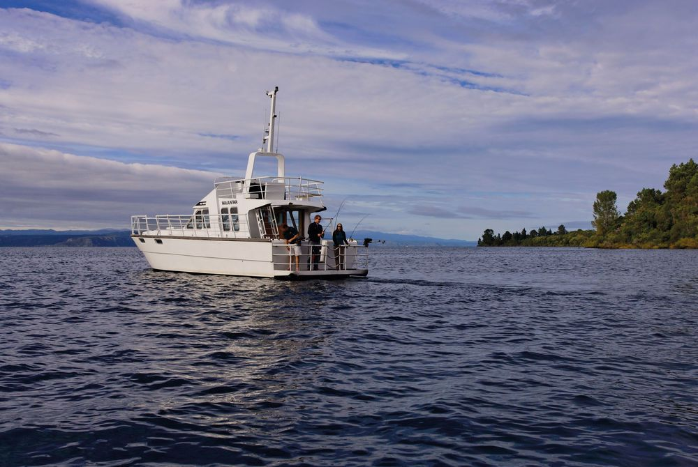 Huka Lodge fishing on Lake Taupor, New Zealand
