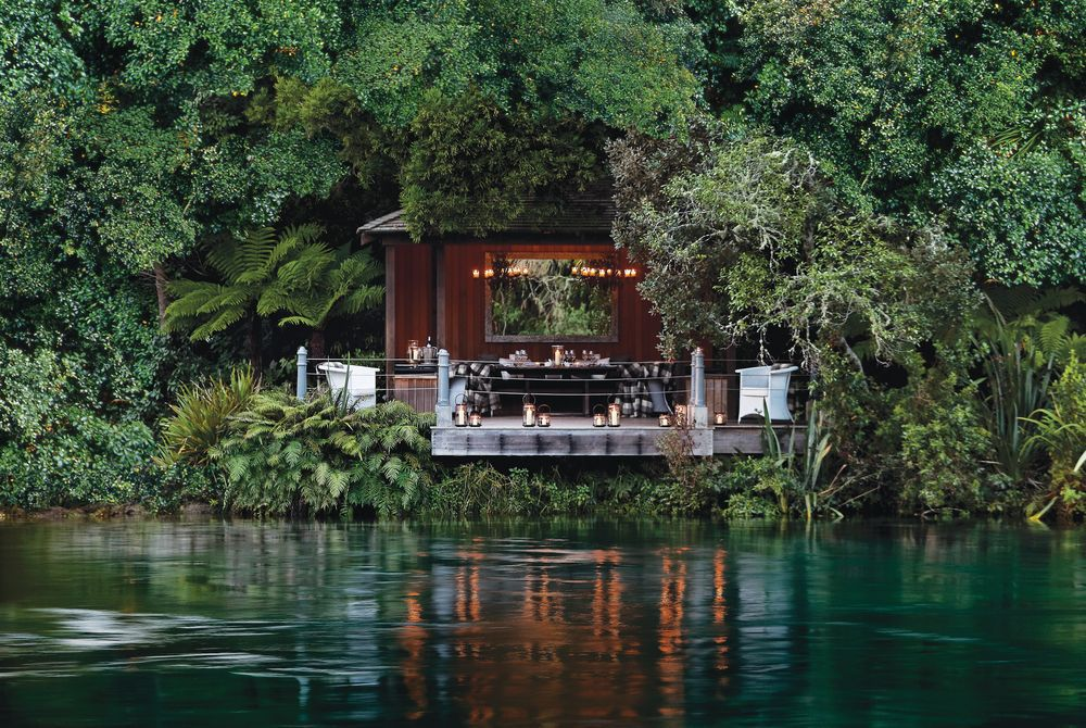 Huka Lodge jetty pavilion, New Zealand
